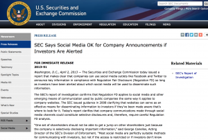 SEC Says Social Media OK for Company Announcements if Investors Are Alerted